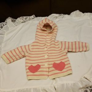 Baby Gap Pink & White Hoodie Sweater Size 0-3 Mths